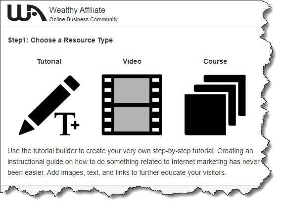 Wealthy Affiliate create a training