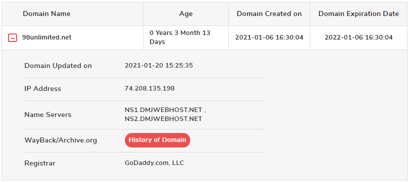 98 Unlimited Domain age