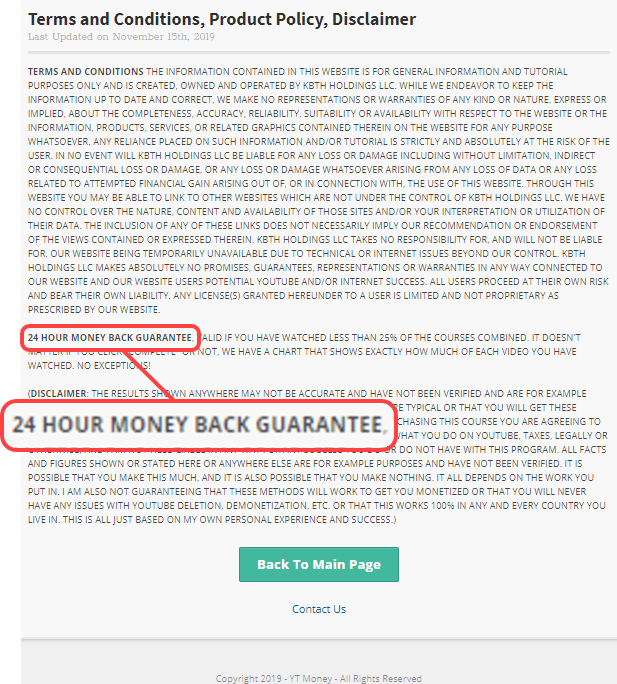 YT Money Money Back Guarantee